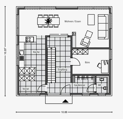architektenhaus stadtvilla beipielplanung 2 jetzthaus. Black Bedroom Furniture Sets. Home Design Ideas